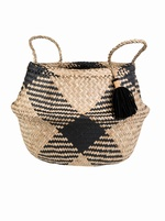 Sea-grass Tribal Pattern Tassel Basket